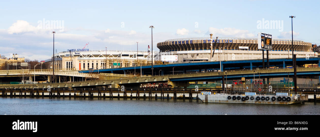 old and new 'Yankee Stadium' side by side during construction in the Bronx New York - Stock Image