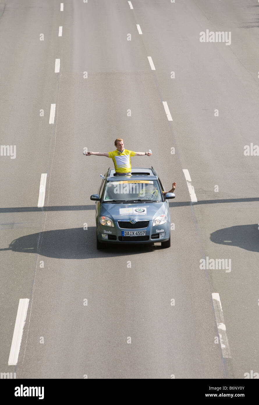 A escort car at the cycle race Deutschlandtour - Stock Image
