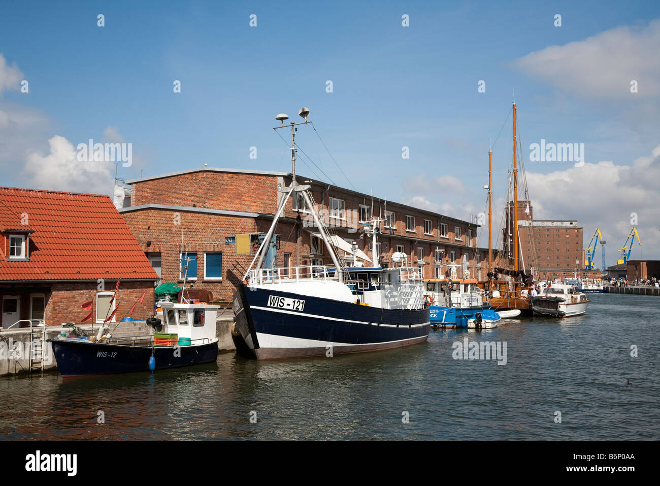 Harbour with fishing boats Wismar Germany - Stock Image