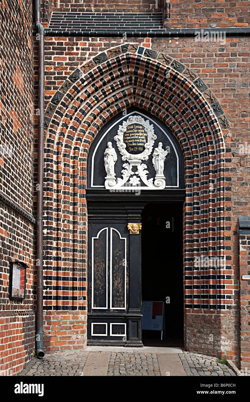 Door to St Nikolai Kirche St Nicholas church Wismar Germany - Stock Image