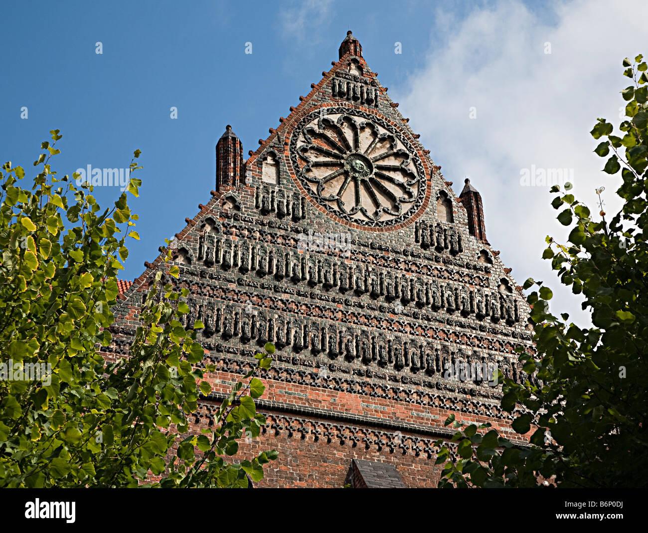 Gothic architecture of St Nikolai Kirche St Nicholas church Wismar Germany - Stock Image