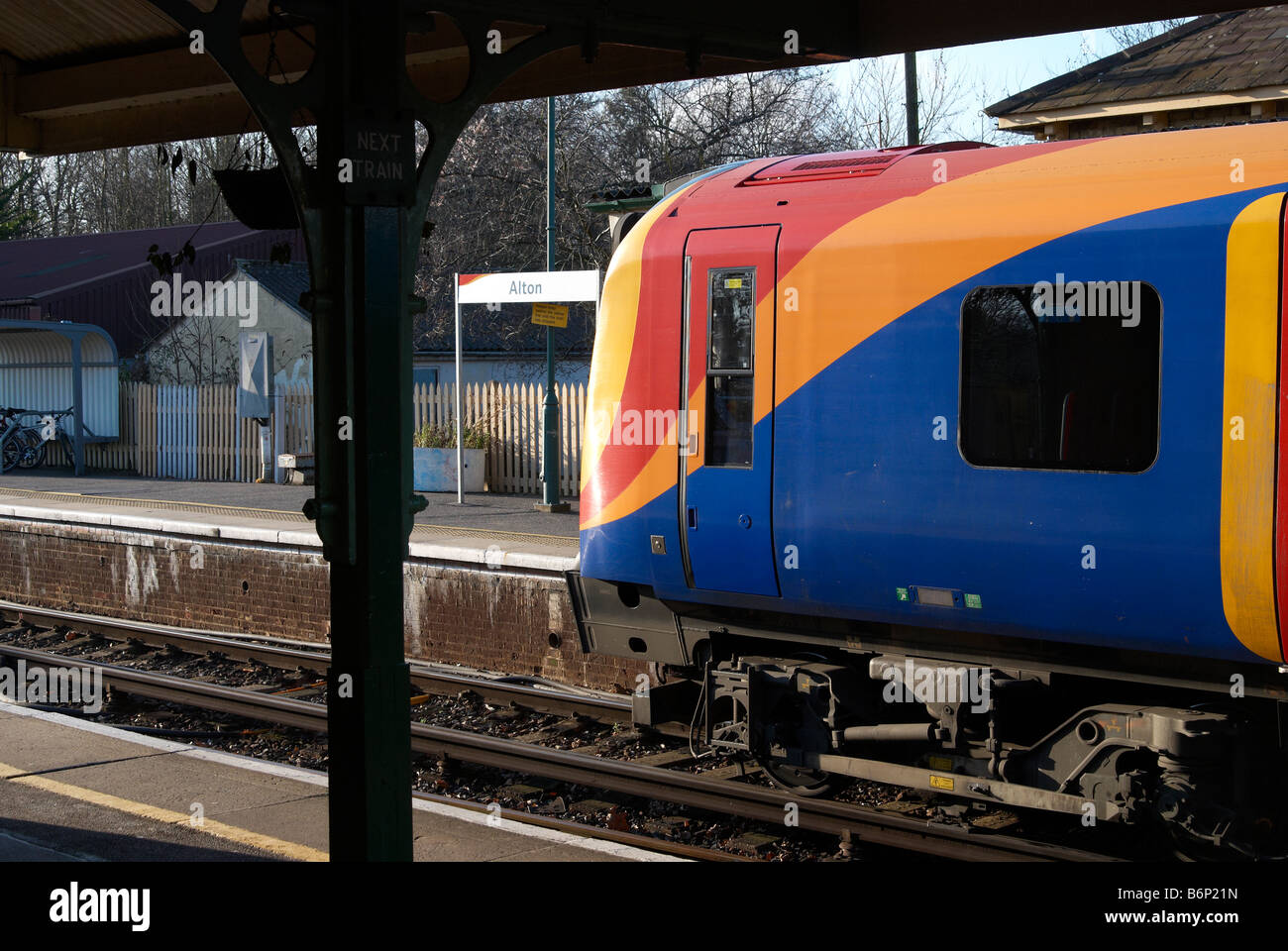 450 class electric multiple unit in South West Trains livery standing at Alton Station, Alton, Hampshire, England. - Stock Image
