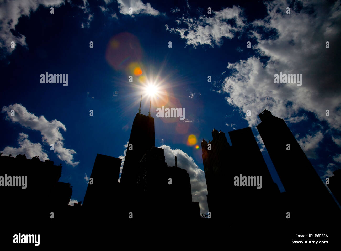The Chicago Skyline viewed from Cloud Gate, Millennium Park, Chicago, Illinois, USA - Stock Image