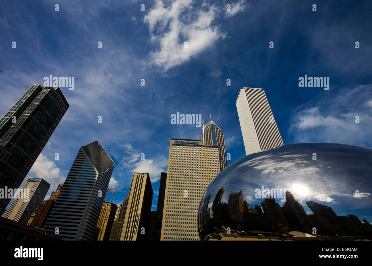 Reflection of buildings on a sculpture, The Bean, Cloud Gate, Millennium Park, Chicago, Illinois, USA - Stock Image
