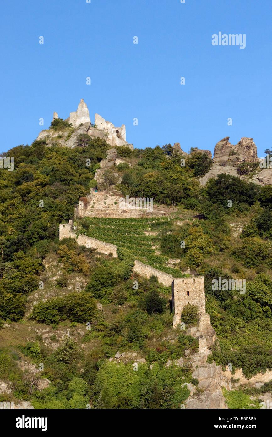 Durnstein's Kuenringer Castle, where Richard the Lionheart was once held as prisoner, ruin above Danube River - Stock Image