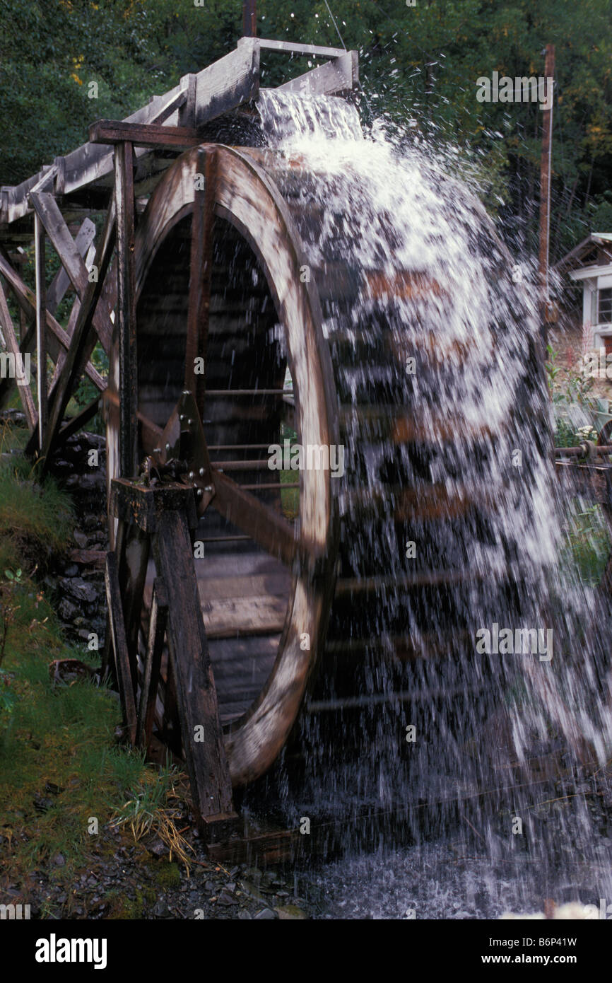 Wooden waterwheel Moose Pass Alaska - Stock Image
