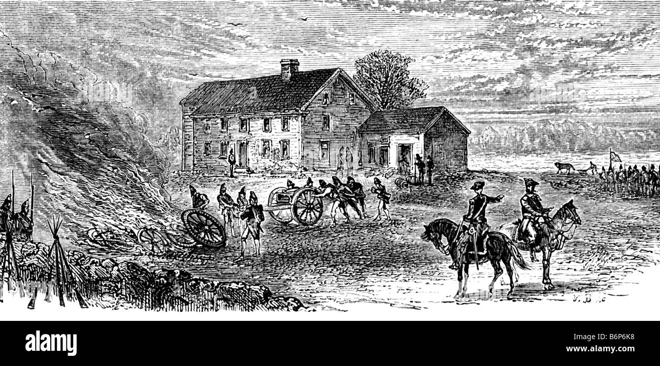 Burning Canon Carriages at Concord - Stock Image