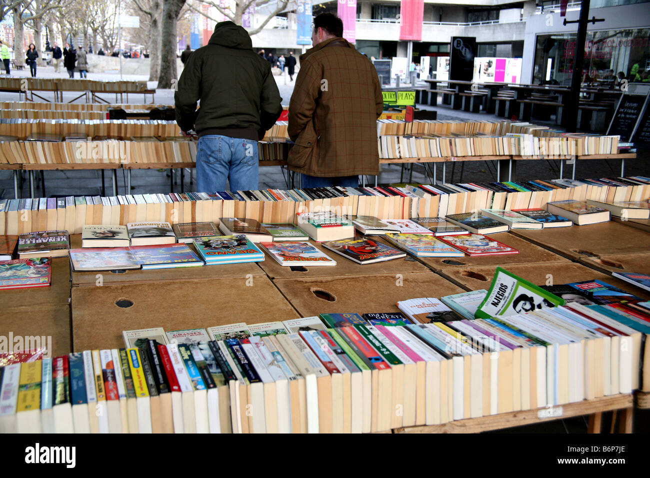 Book market on South Bank, London - Stock Image