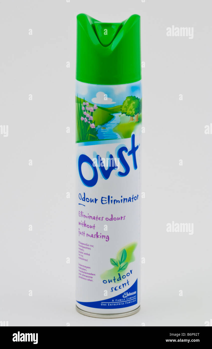 Aerosol can of OUST odour eliminator spray sold in the UK - Stock Image