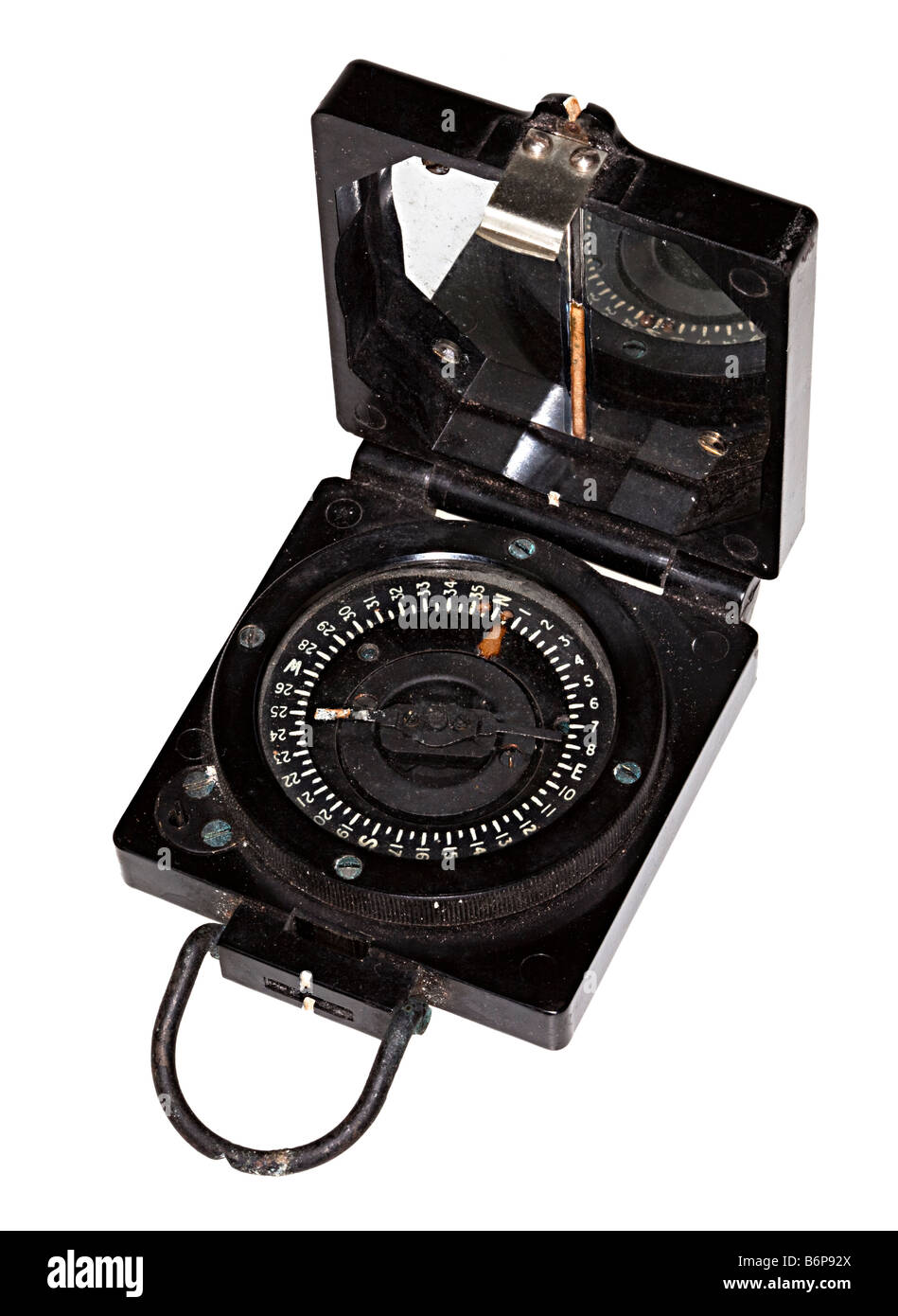 Second World War British Army marching compass now corroded with time - Stock Image