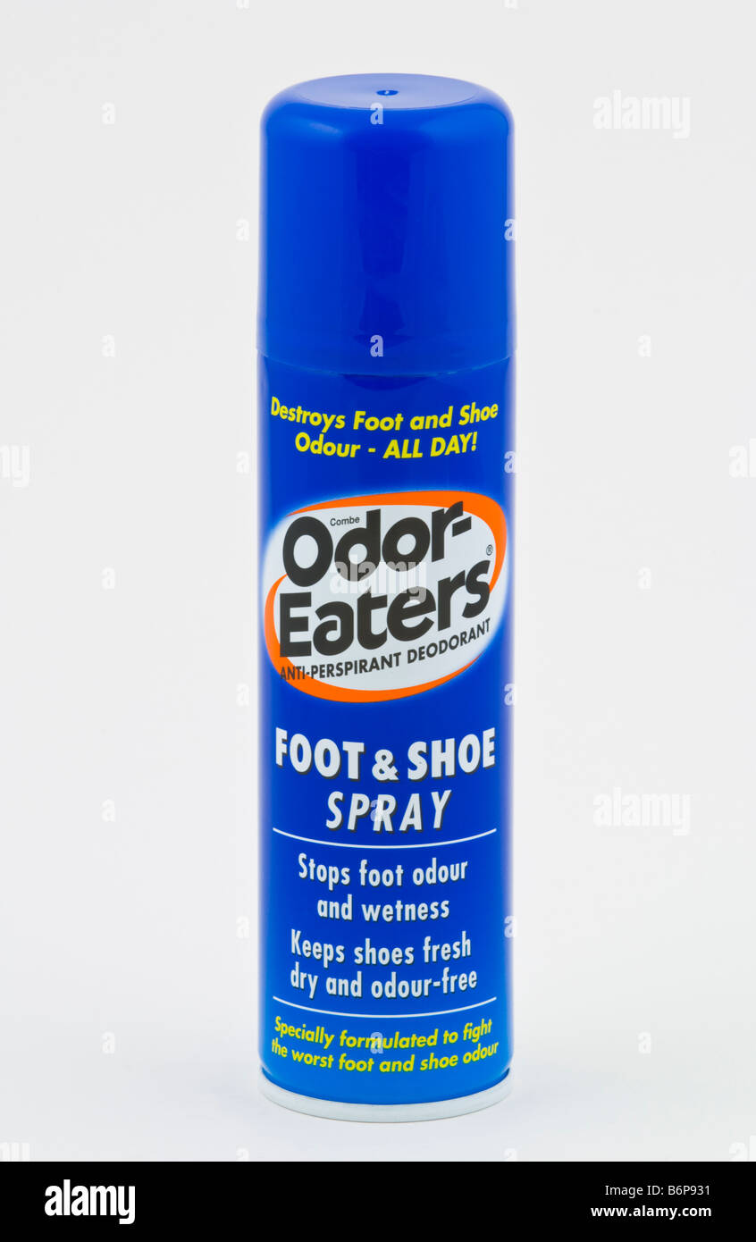 Aerosol can of foot and shoe spray sold in the UK - Stock Image