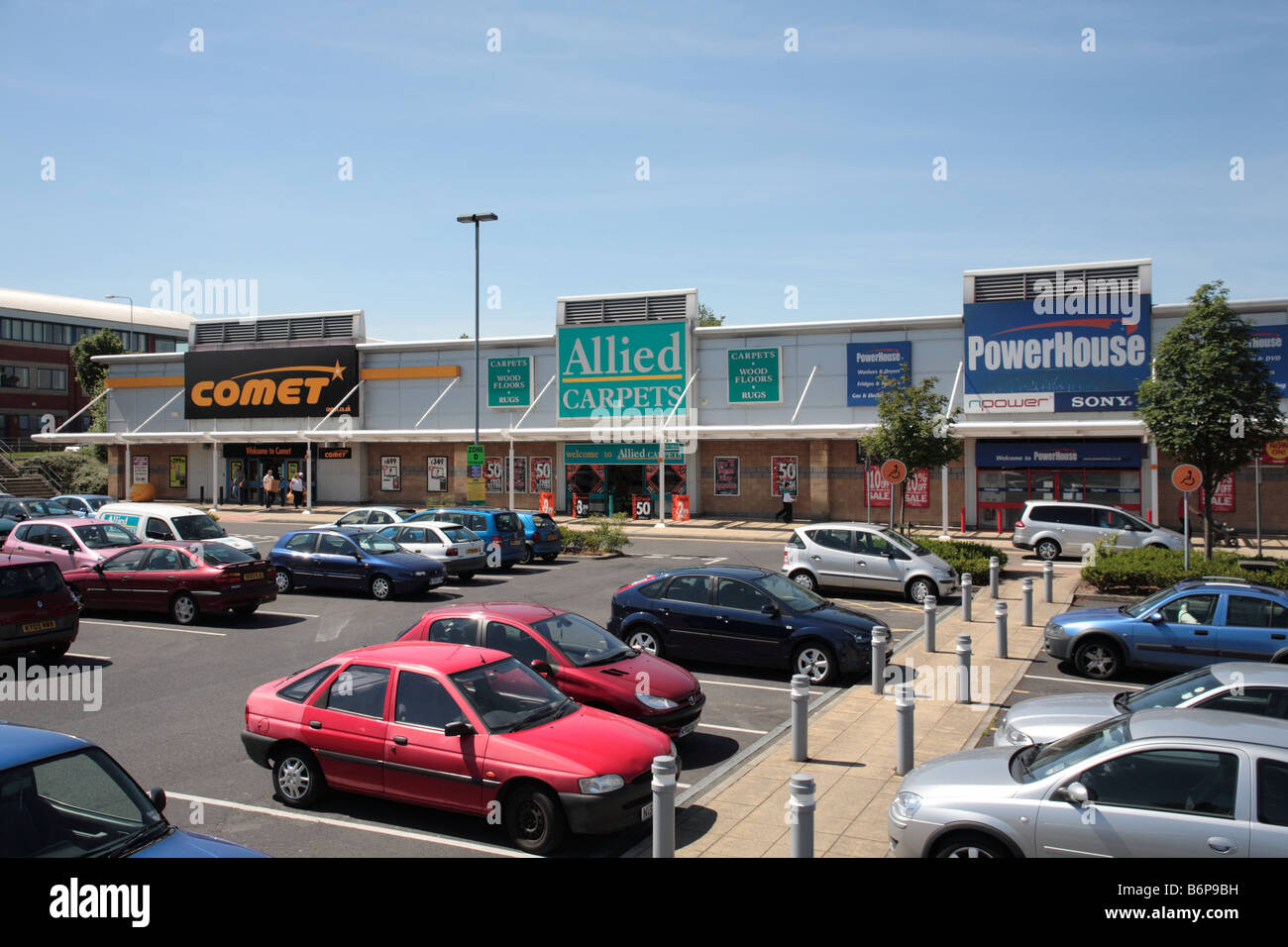Comet Electrical, Allied Carpets and former Powerhouse stores, Robin Retail Park, Wigan - Stock Image