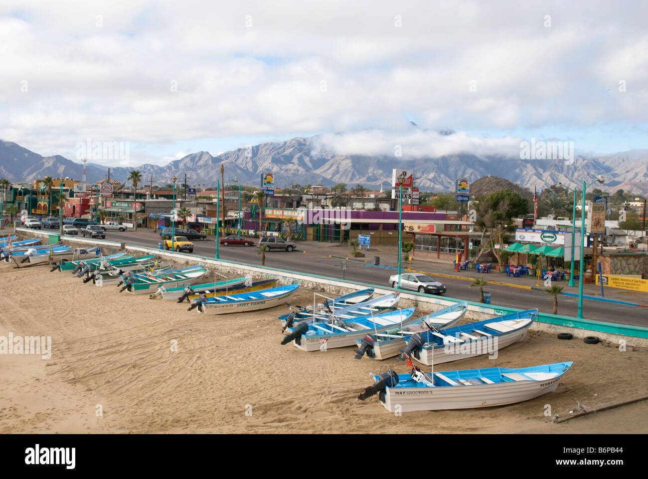 The beachfront of San Felipe Mexico, where you can hire a boat for a fishing trip on the spot - Stock Image