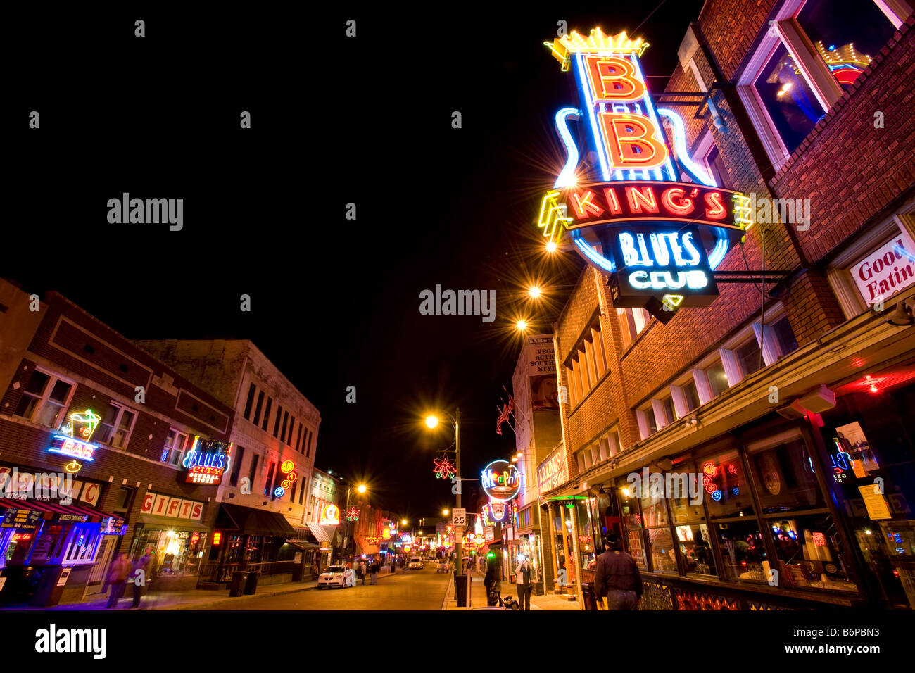 Famous blues clubs on Beale street in Memphis, TN - Stock Image