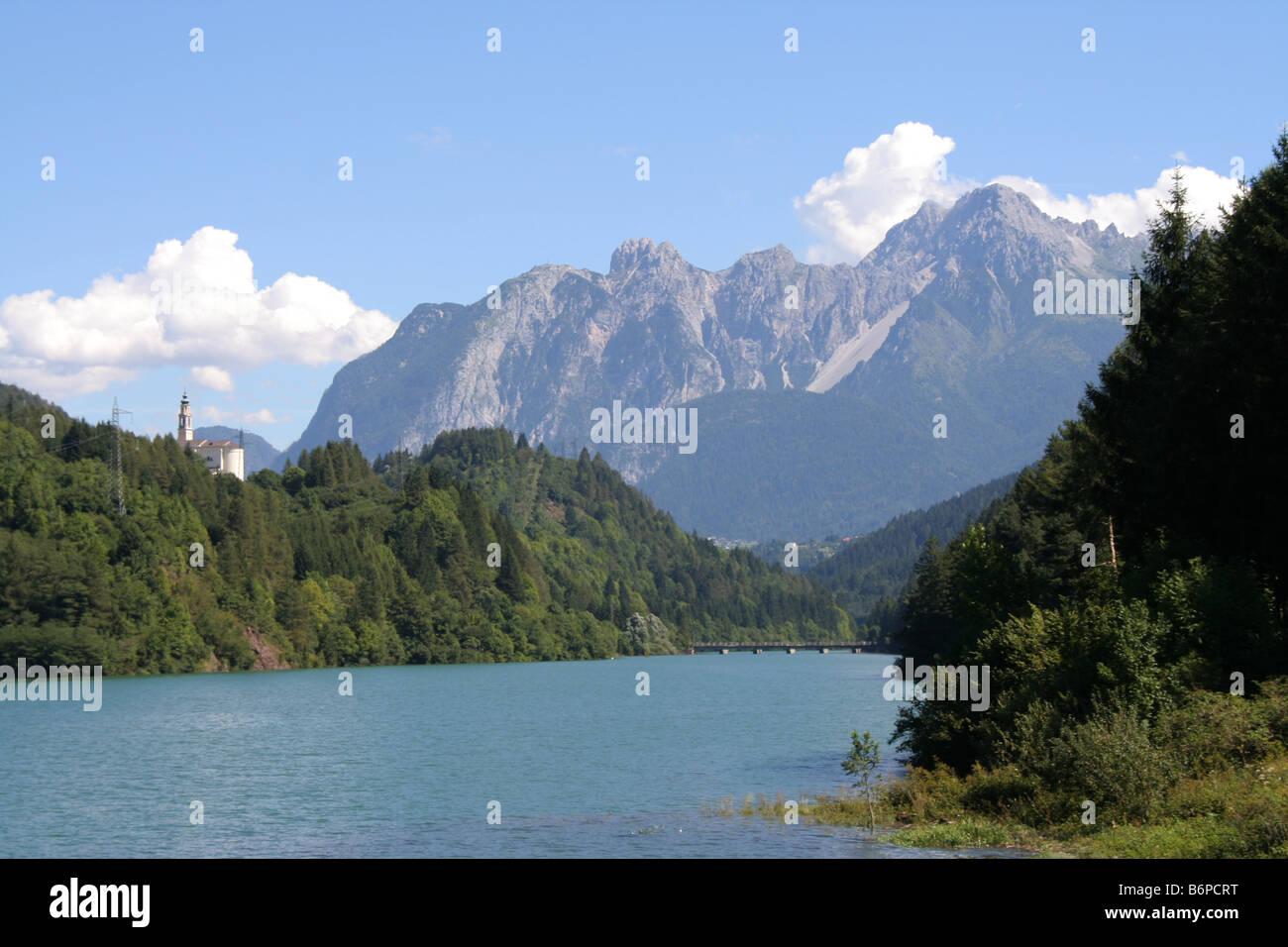 Lago Centro Cadore in the Italian Dolomites - Stock Image