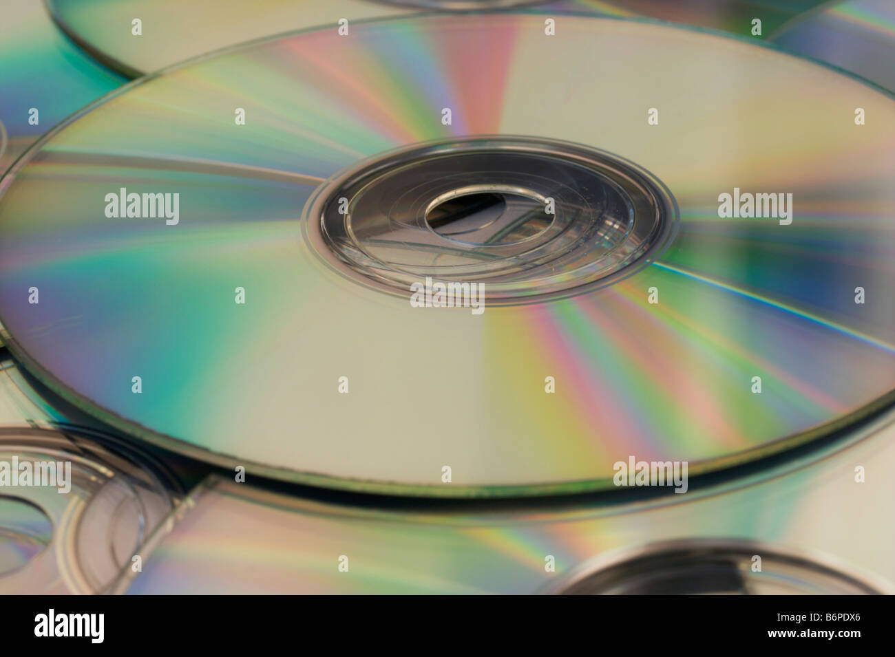 Pile of recordable CDs or DVDs - Stock Image