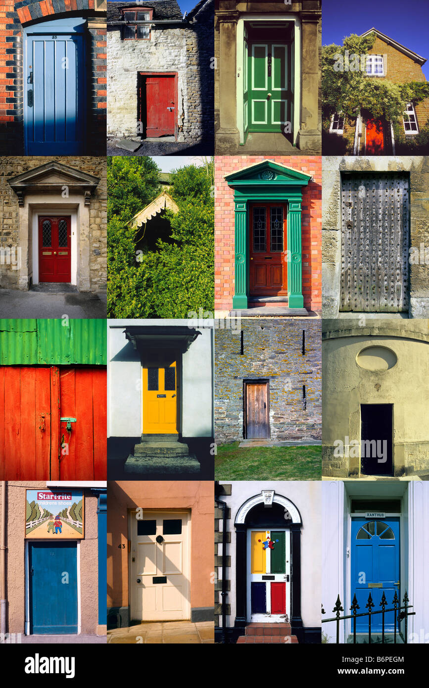 Multiple 16 x Image vertical montage of British Doors and Doorways. & Multiple 16 x Image vertical montage of British Doors and Doorways ...