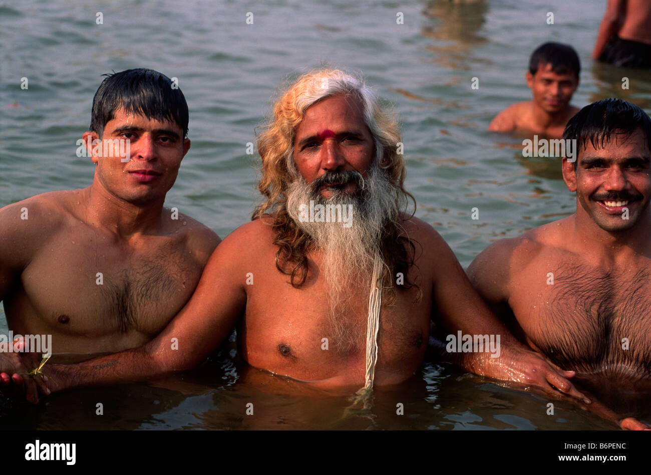 c246a0d1deb india, uttar pradesh, allahabad, sangam, people bathing at the confluence  of the