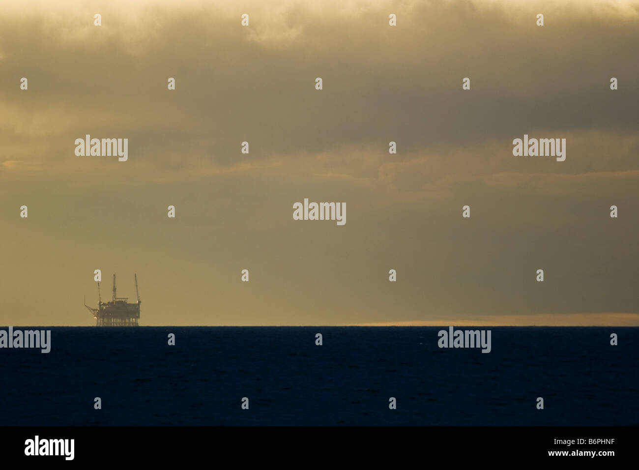 Oil platform in the Santa Barbara Channel. - Stock Image