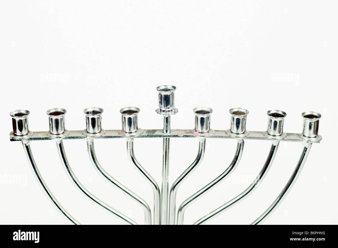 Silver Hannukah Menorah on white background - Stock Image