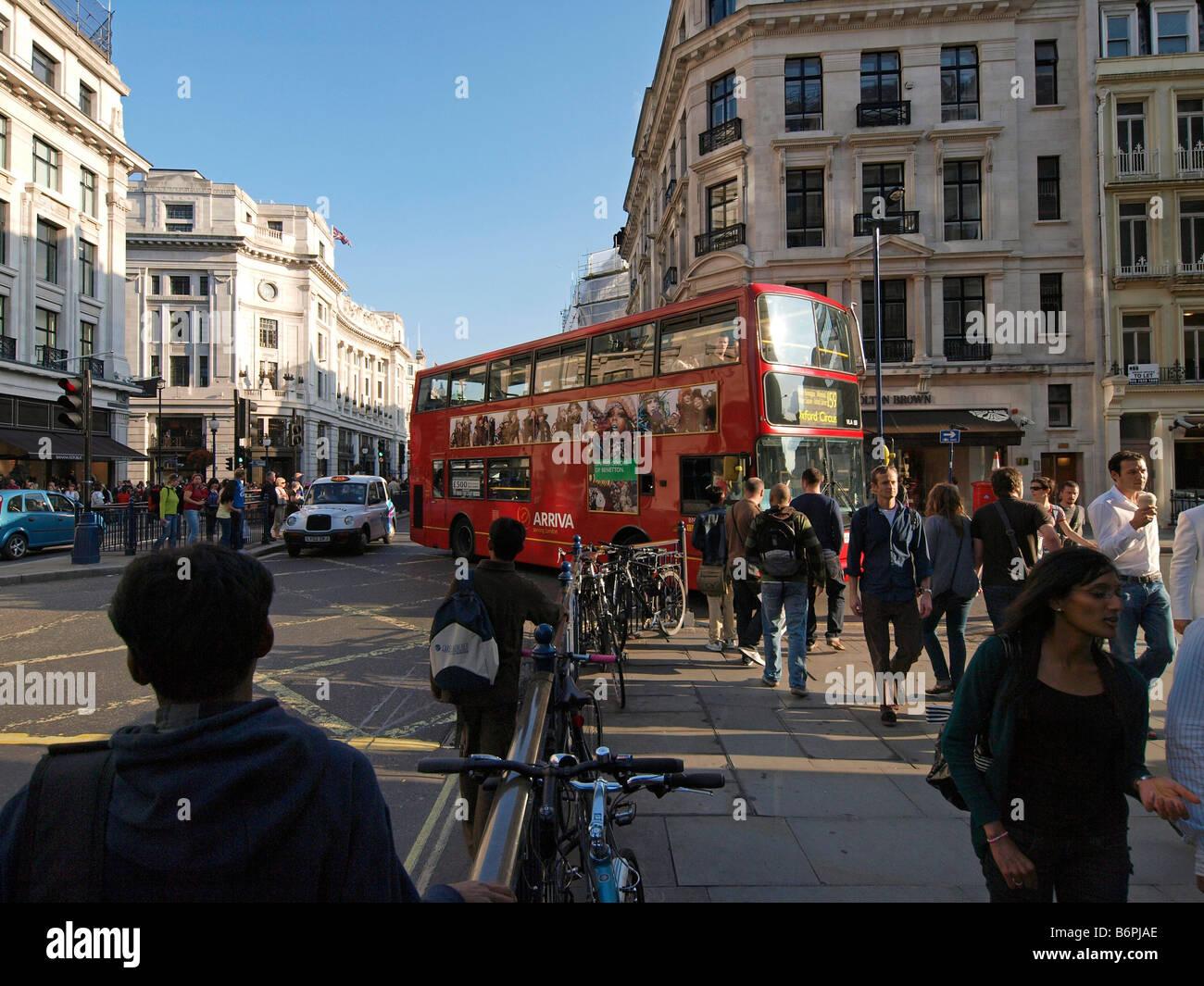 Regent street with many people shopping London UK - Stock Image