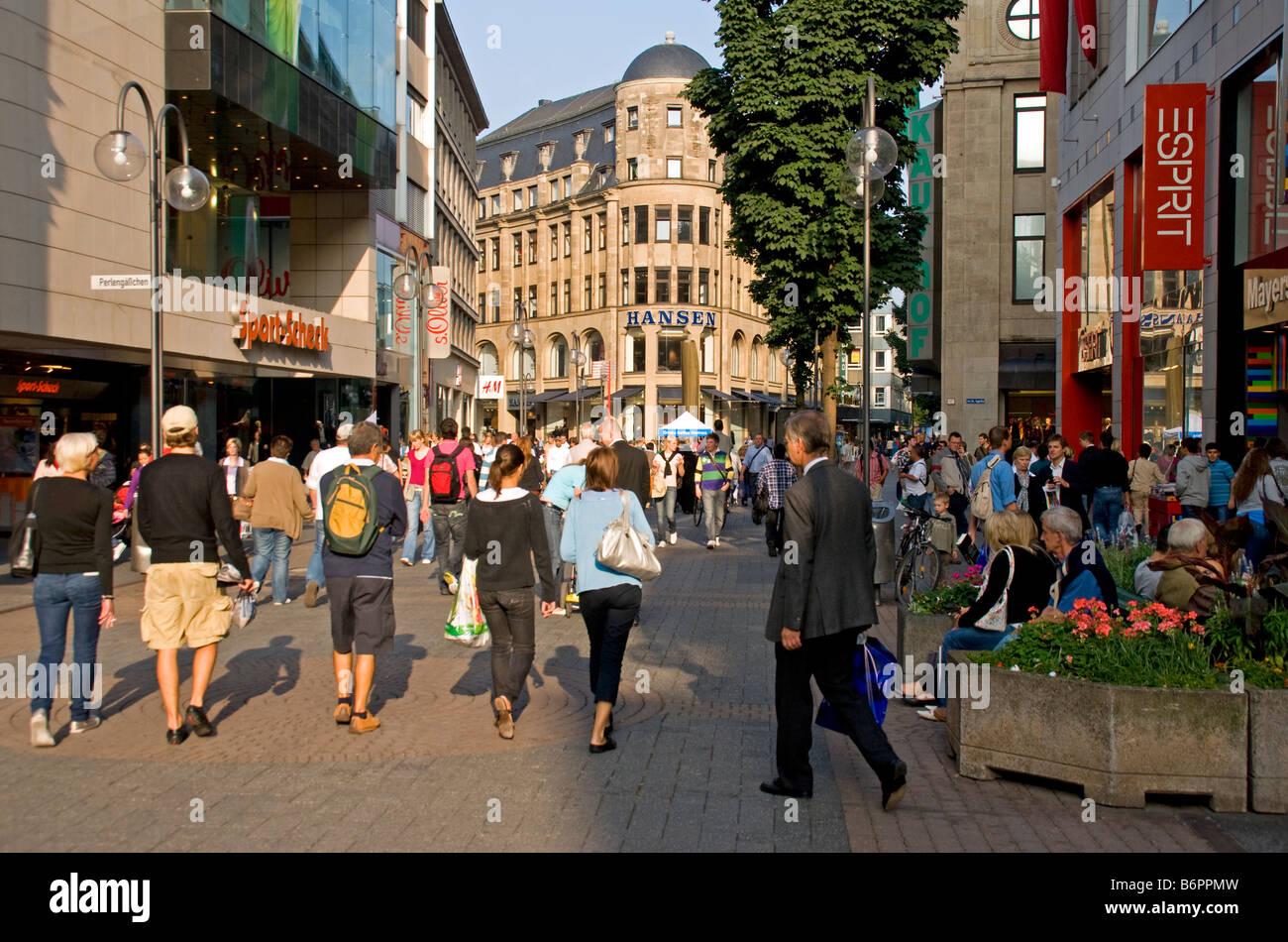 Cologne pedestrian shopping street in downtown central city - Stock Image