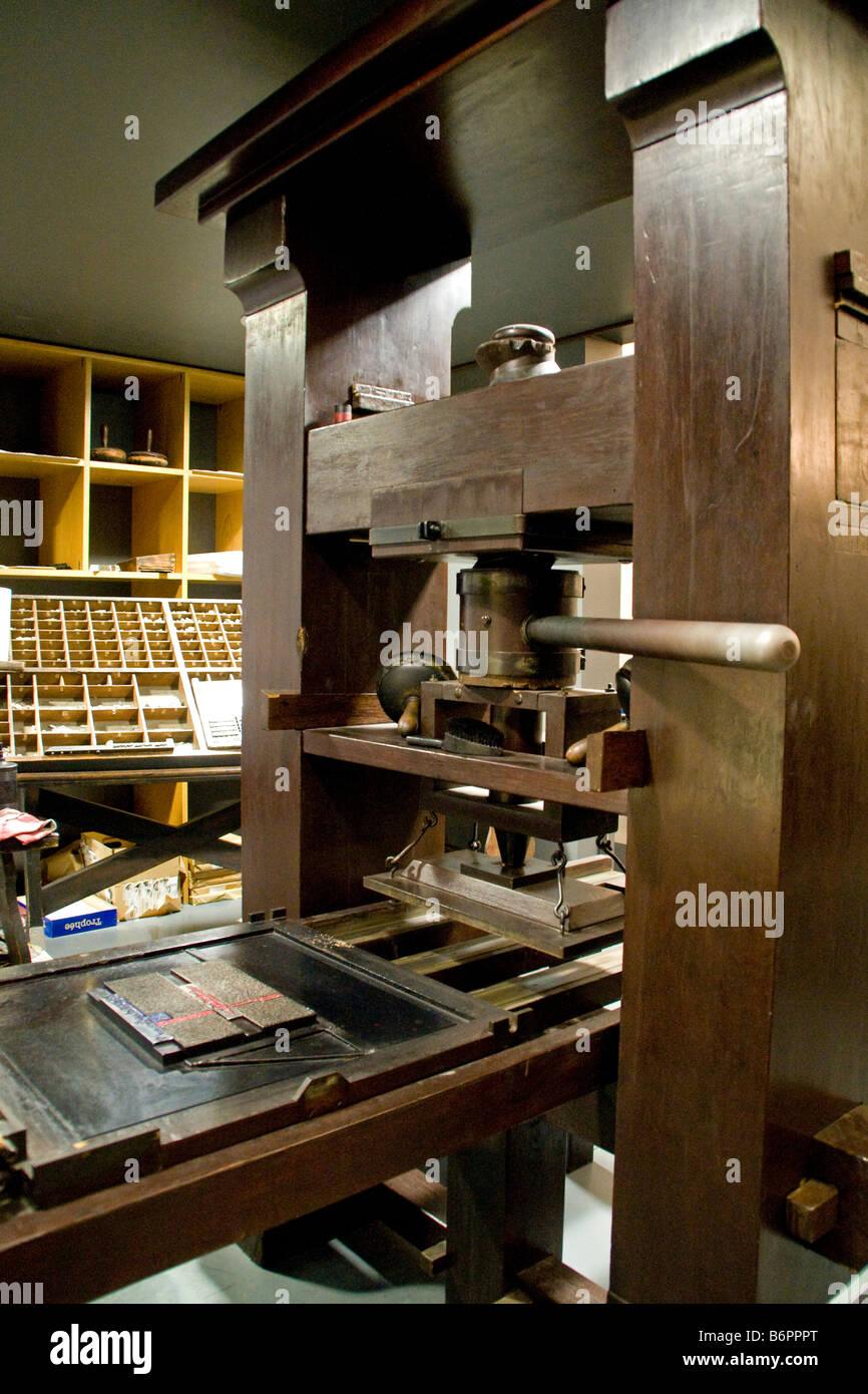 Johann Gutenbergs Printing Press At Gutenberg Museum In Mainz