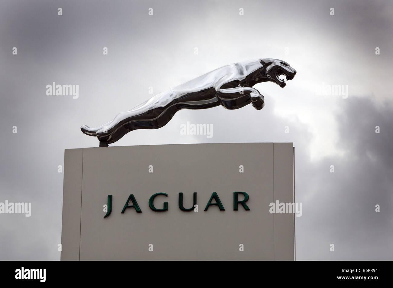 Jaguar car dealers showroom sign Stock Photo