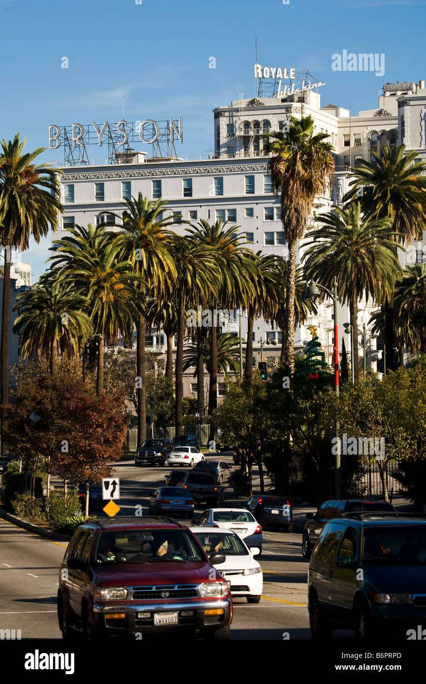 View along Wilshire Boulevard of Royale Wilshire Los Angeles California United States of America - Stock Image