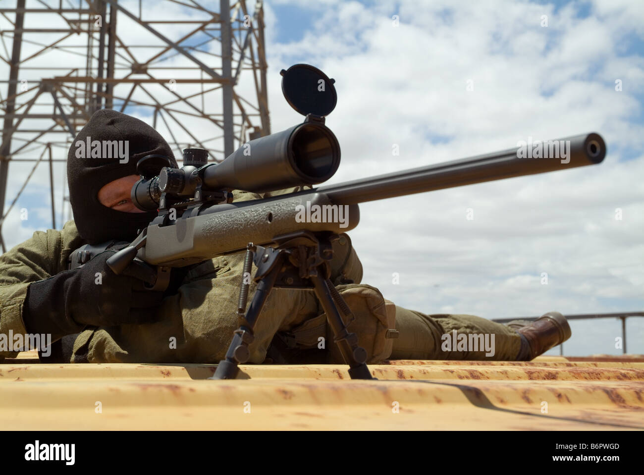 Special forces sniper ready to take shot - Stock Image