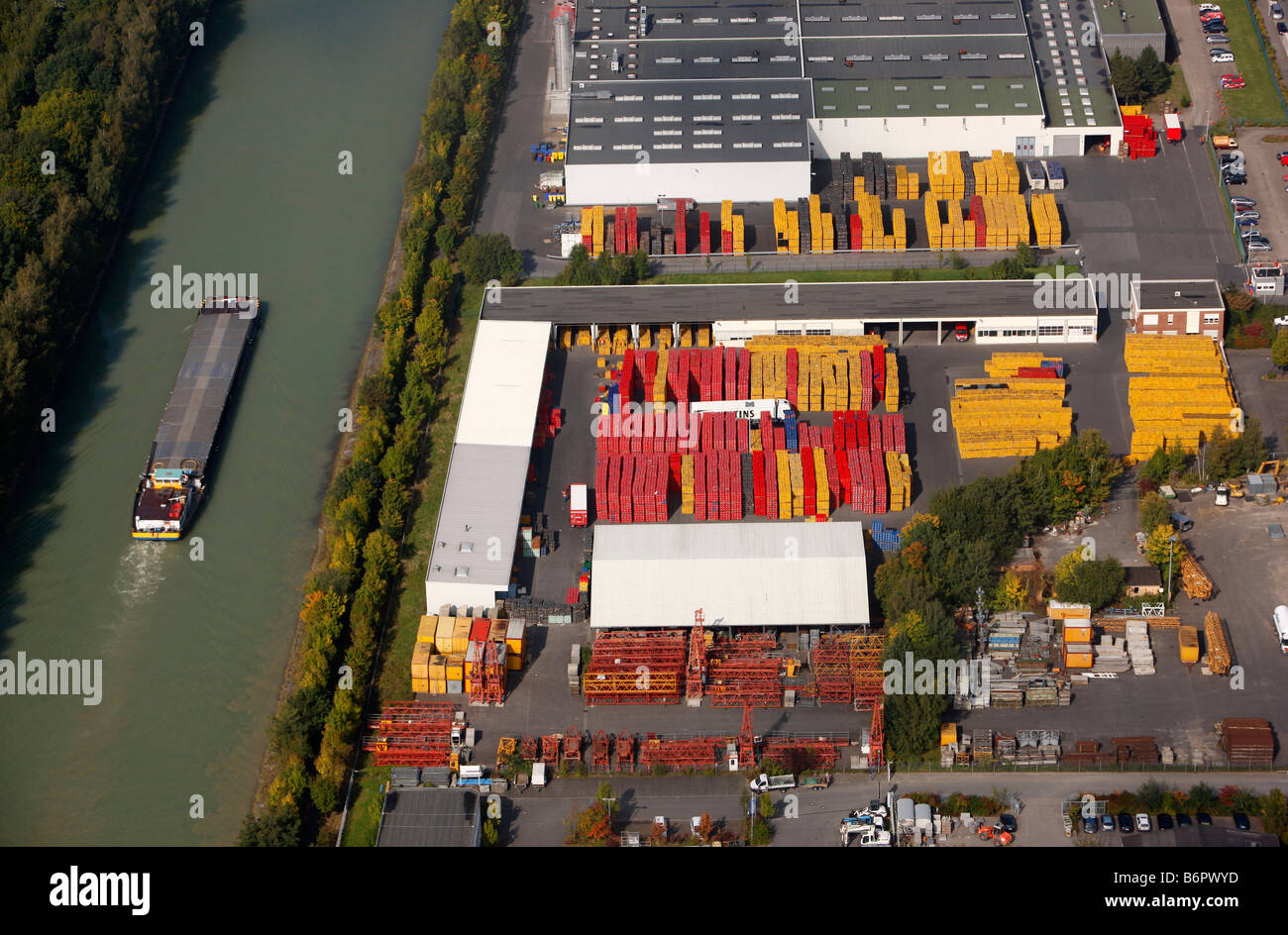 Dortmund-Ems-Canal near Muenster, Germany. Logistics company - Stock Image