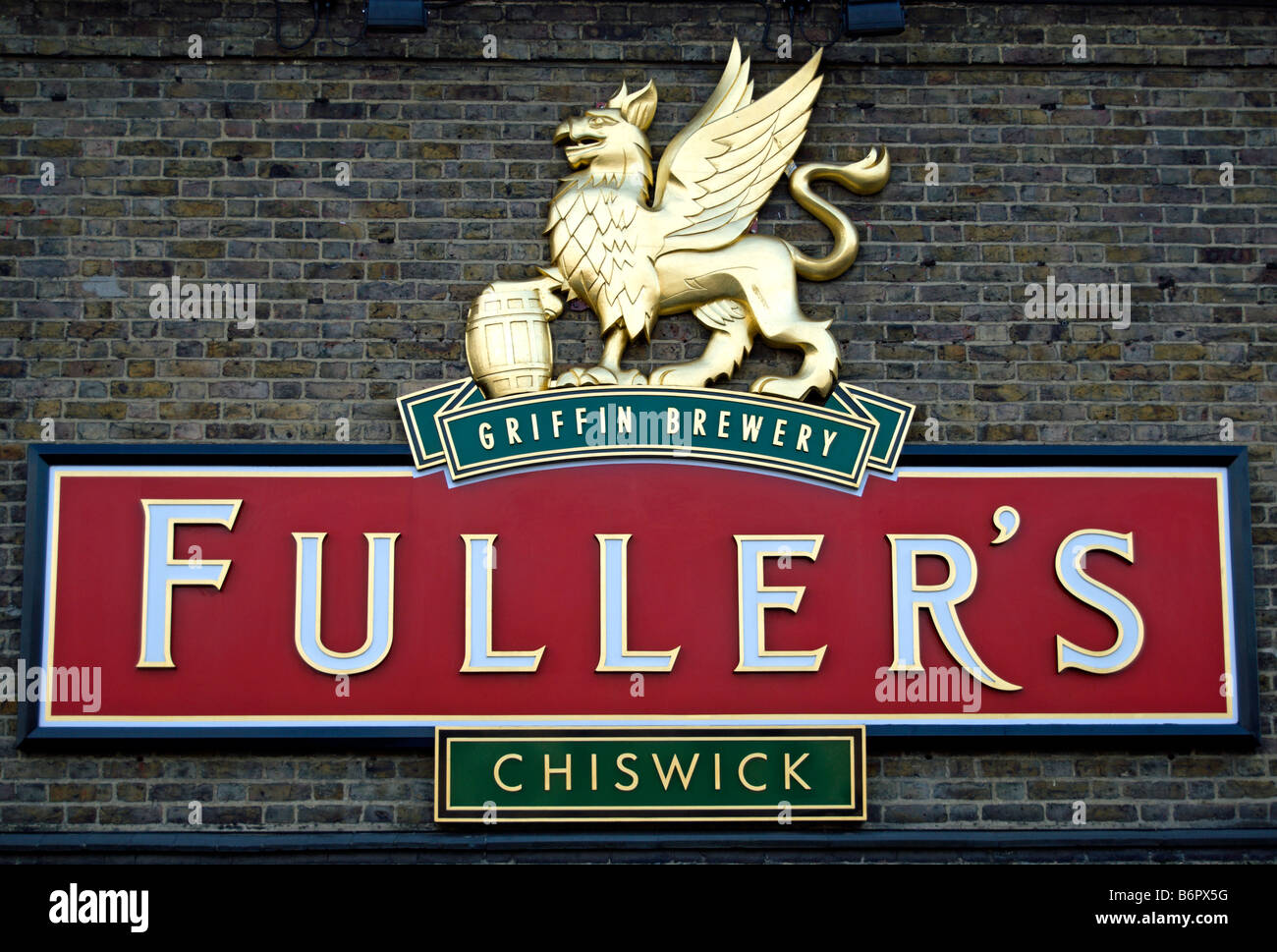 logo of fuller's griffin brewery in chiswick, west london, england - Stock Image