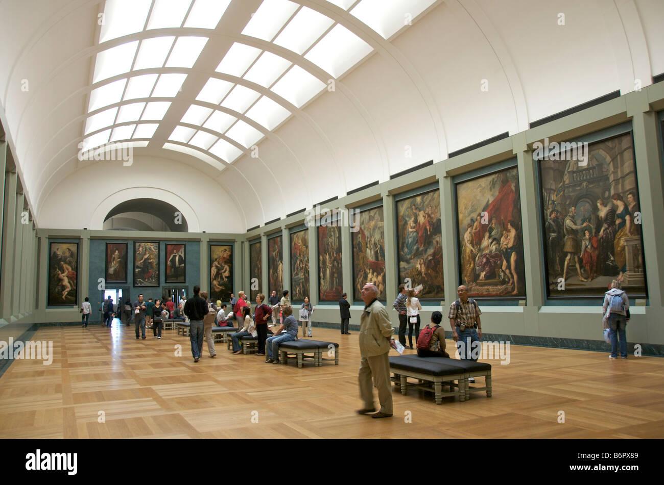 Louvre, Paris, France - interior - inside the art gallery - Stock Image