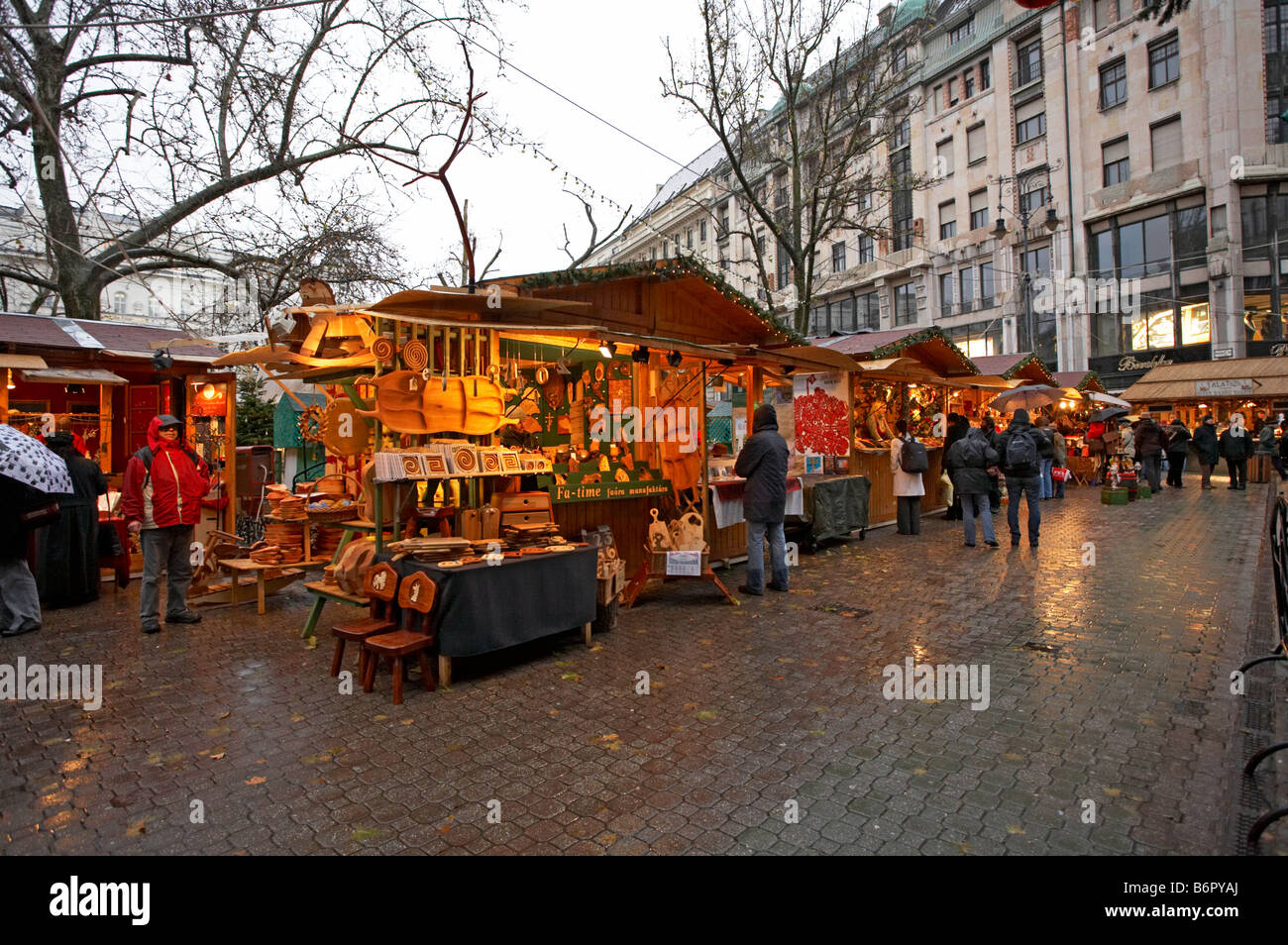 Vorosmarty Square Budapest Christmas Market.Hungary Budapest Christmas Market Vorosmarty Square Stock
