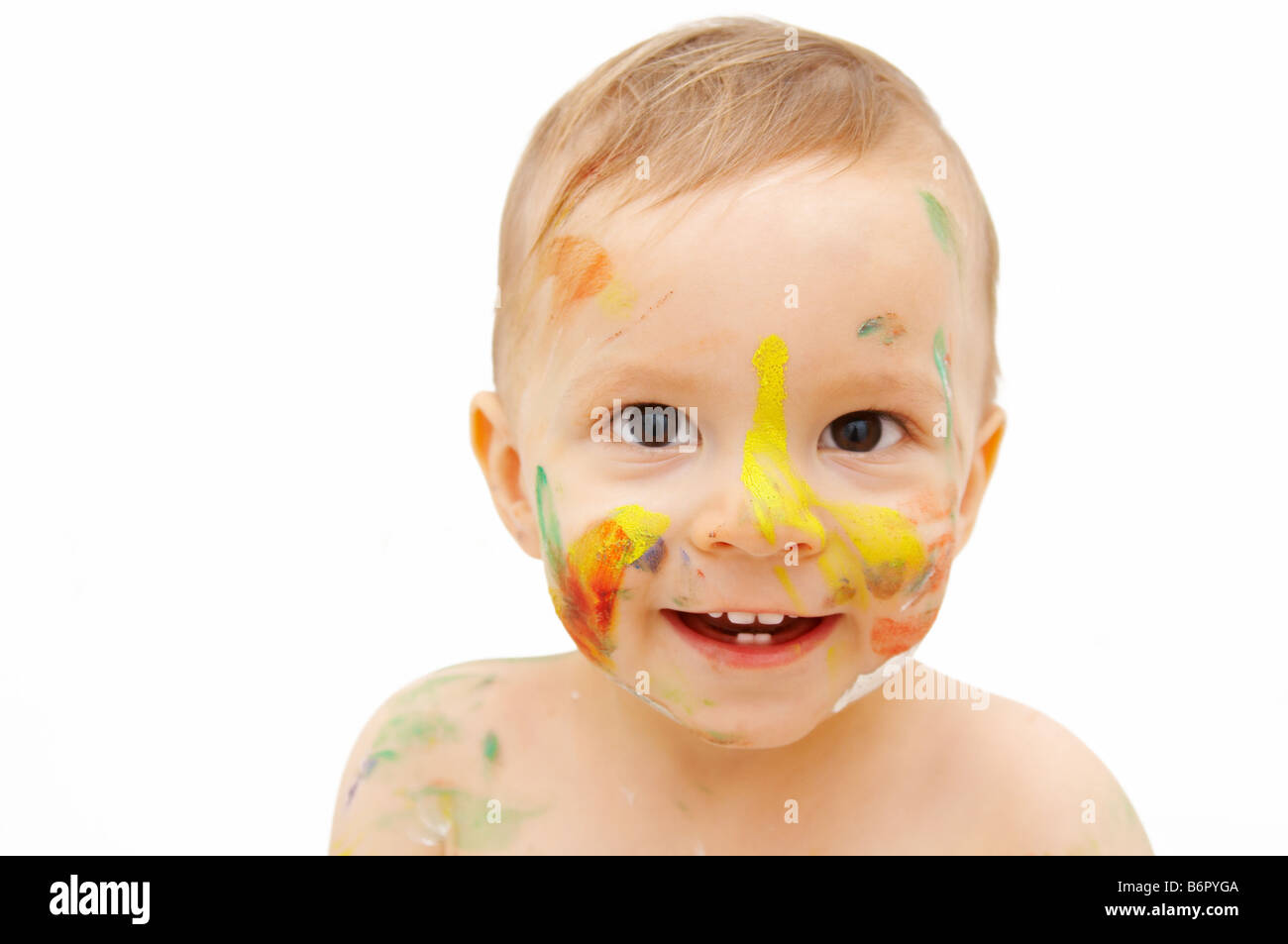 painted baby face - Stock Image