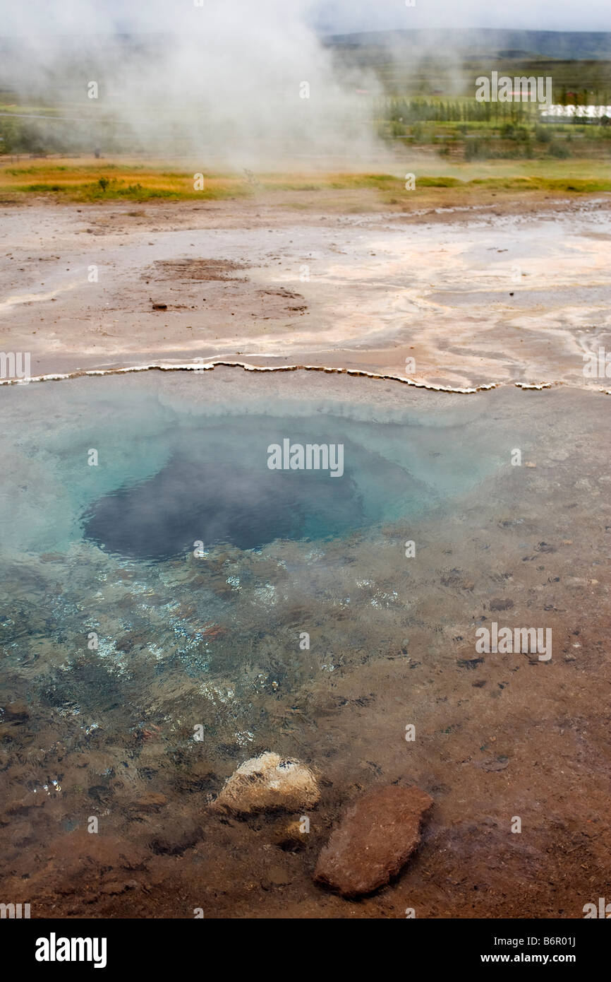 Hot spring pool of boiling water in Haukadalur Valley in southern Iceland Stock Photo