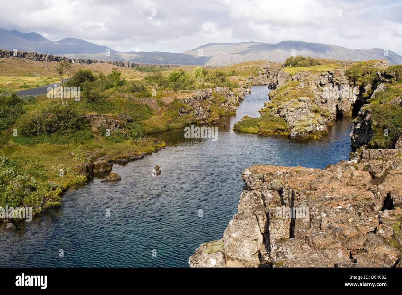 Landscape at Þingvellir, the site of the first Icelandic parliament, called Althing, first established in 930 AD Stock Photo