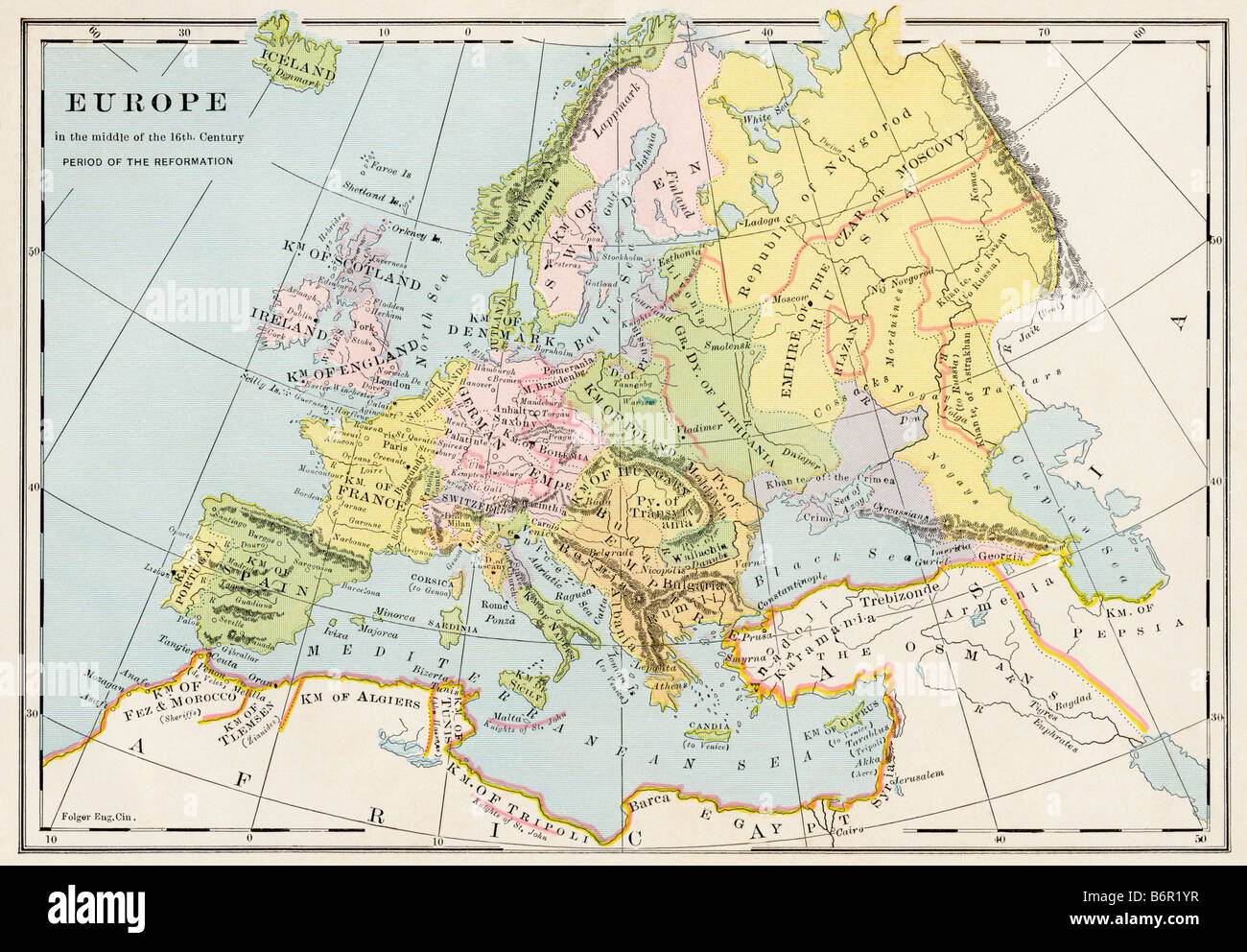 Map of Europe during the early Protestant Reformation. Color lithograph - Stock Image