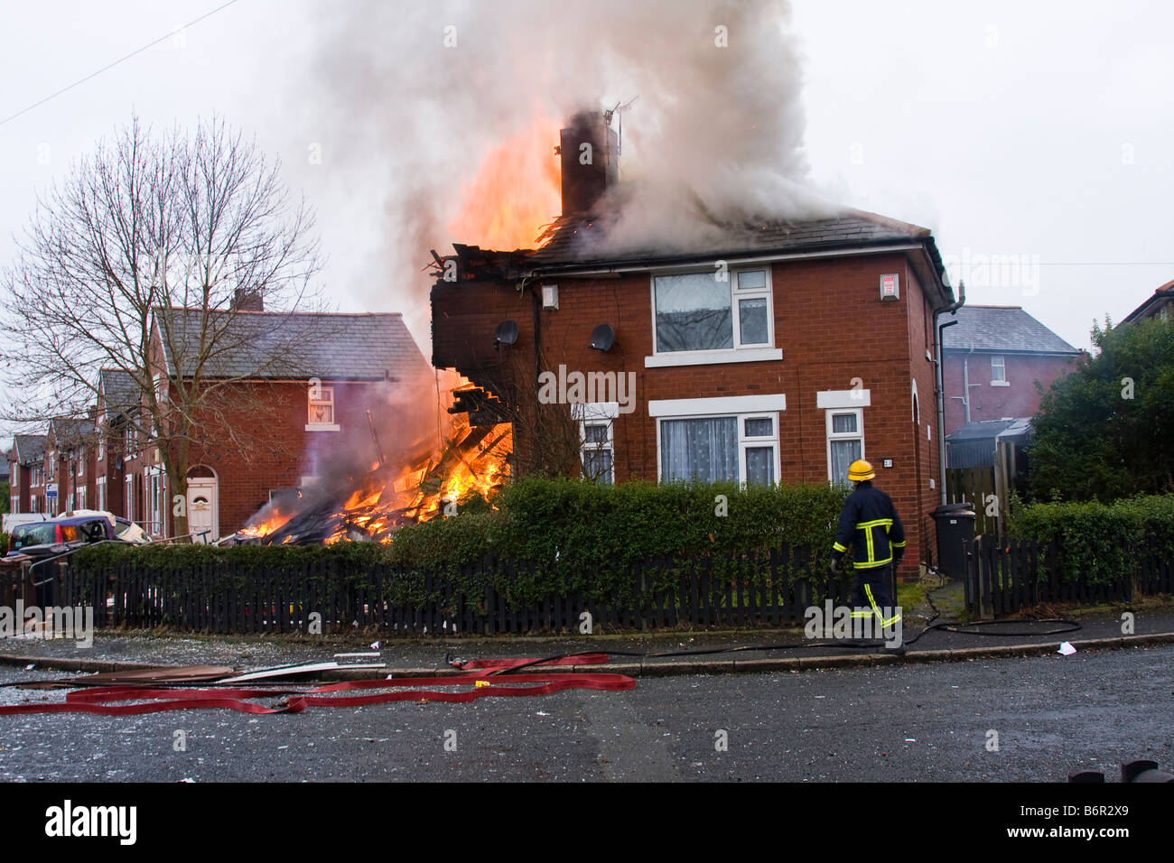 House On Fire Destroyed In A Gas Bottle Explosion