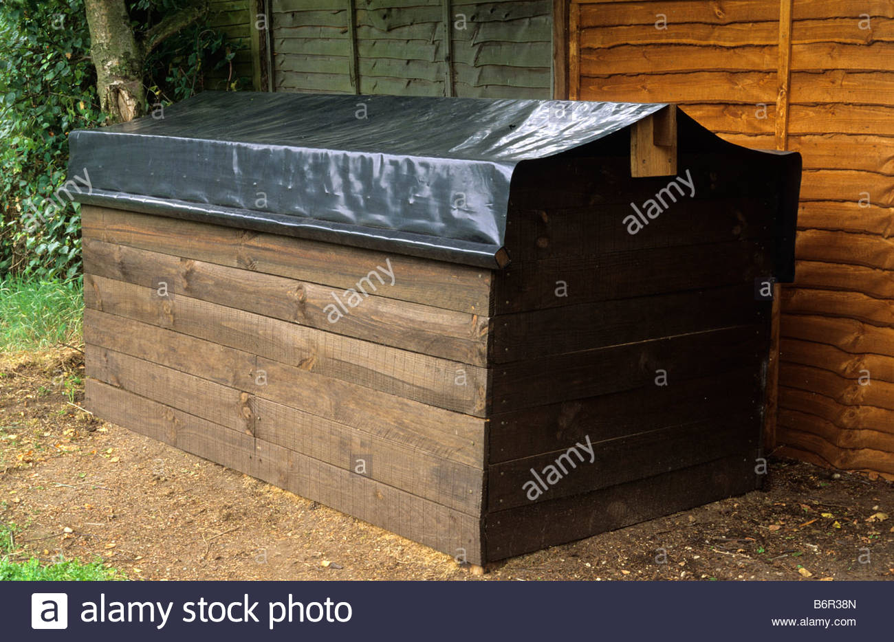 covered 1 metre square compost bins with compost and garden kitchen ...