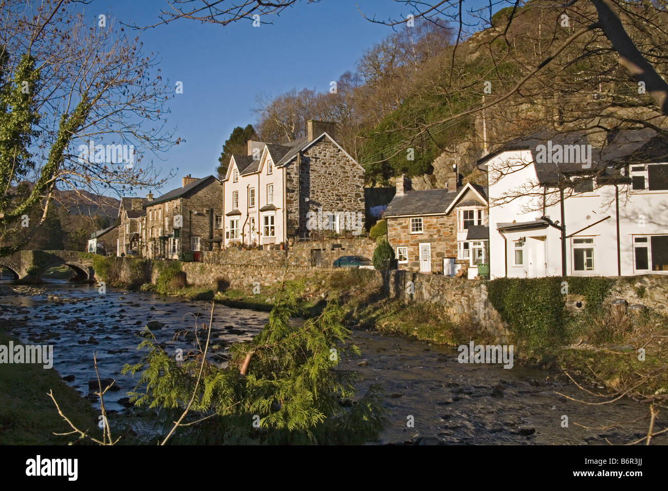 Beddgelert Gwynedd North Wales December The River Colwyn flows through the centre of this historic village - Stock Image