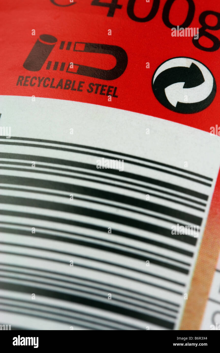 Bar code and Recyclable Steel logo on steel can - Stock Image