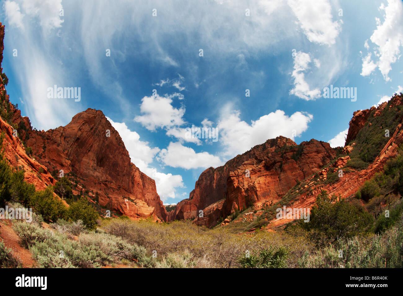 Kolob Canyon fisheye Stock Photo