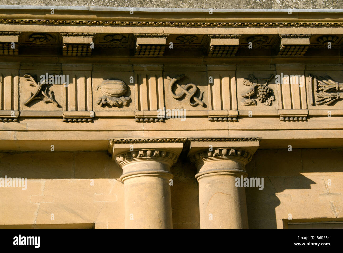 detail of part of the 525 pictoral emblems part of the frieze of the doric entablature of the circus bath somerset - Stock Image