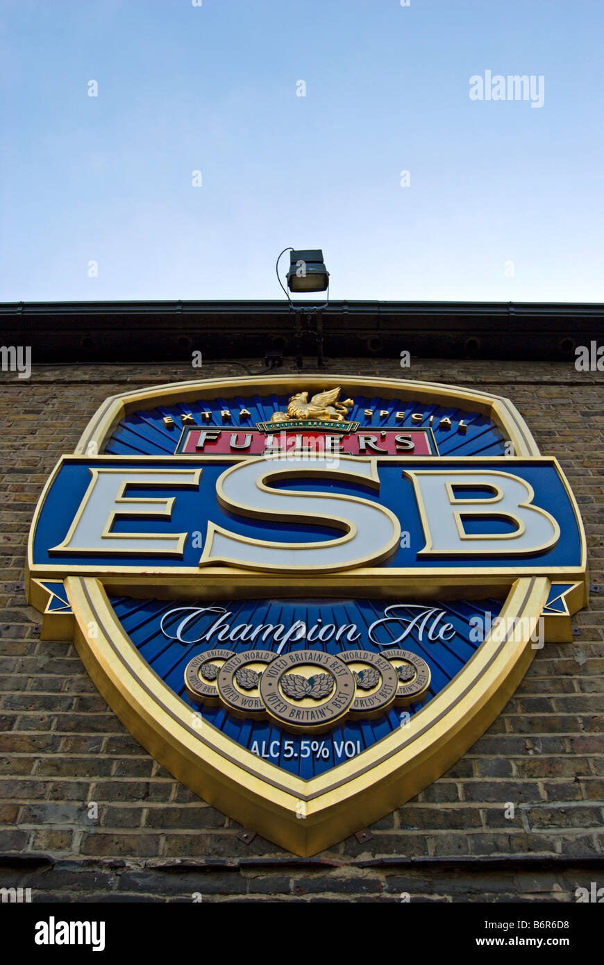 esb, or extra special bitter, logo on the wall of fuller's griffin brewery, chiswick, west london, england - Stock Image