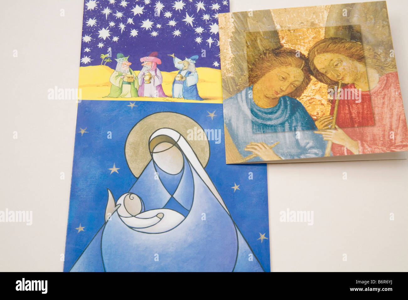 Religious Christmas Cards.Still Life Close Up Three Religious Christmas Cards Stock