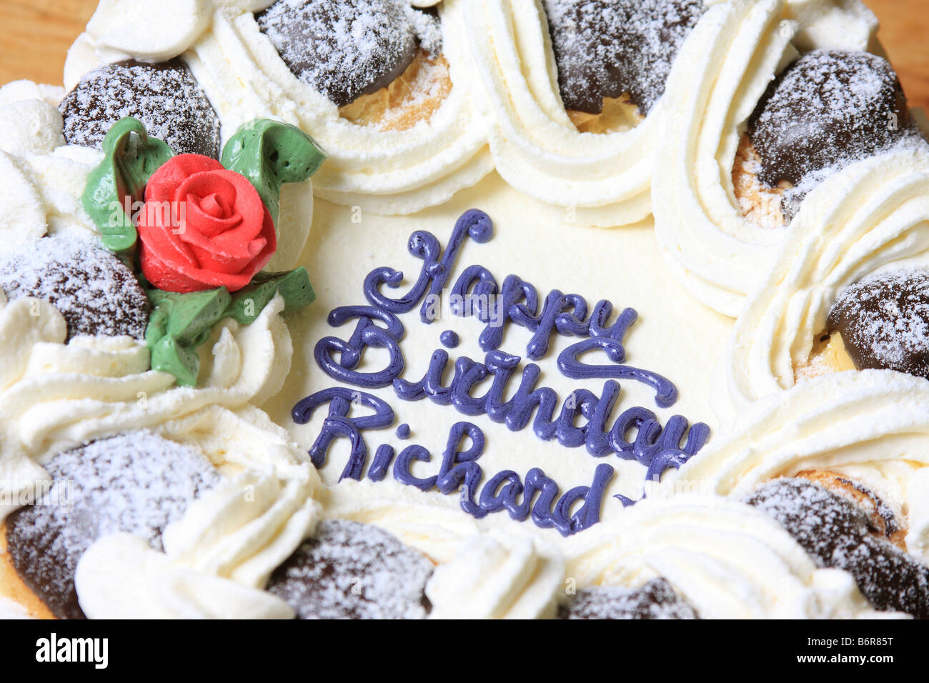 Birthday Cake Baked In A New Westminster Canada Bakery Stock Photo