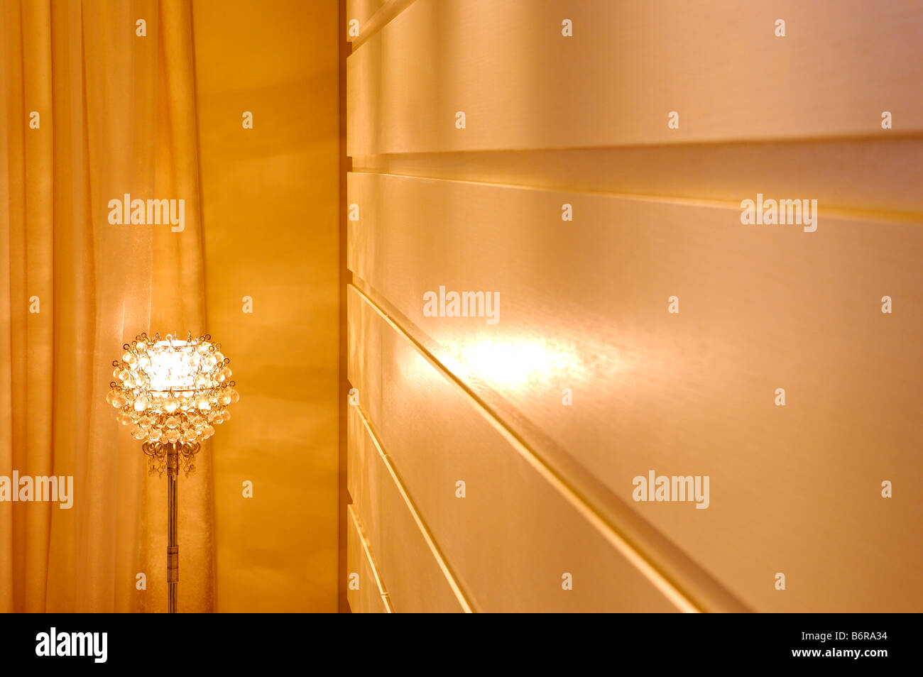 Lamp glittering on the wooden ceiling Stock Photo