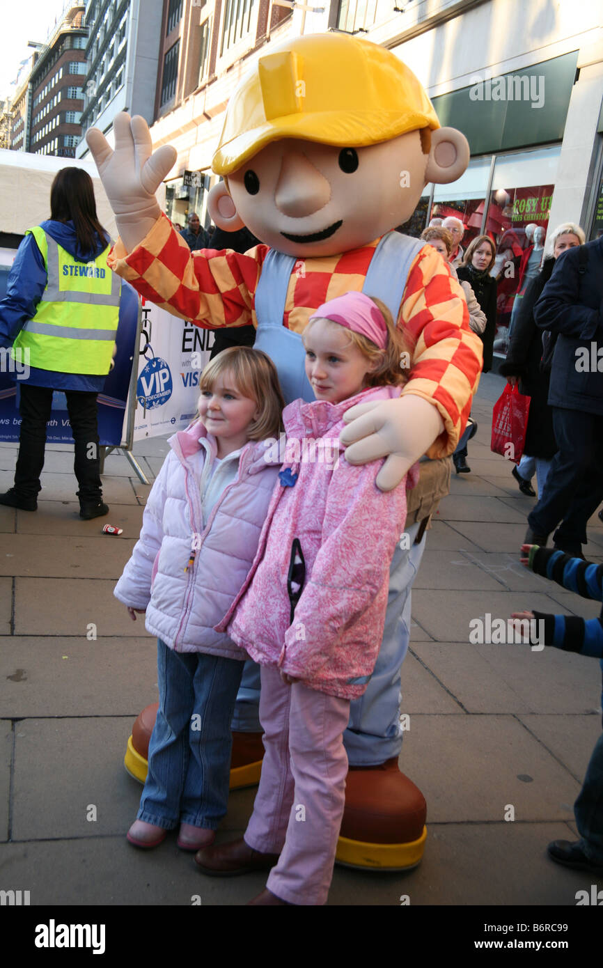 Bob the Builder character poses with children in Oxford Street London - Stock Image & Bob The Builder Stock Photos u0026 Bob The Builder Stock Images - Alamy