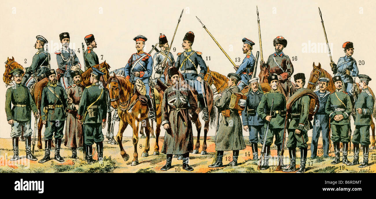 Russian soldiers including Cossacks, dragoons, and sailors circa 1900. Color lithograph - Stock Image